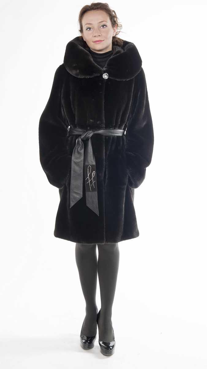 Арт.395. Пальто из американской норки Black Glama c капюшоном. Длина 100 см. 199 000. Руб.