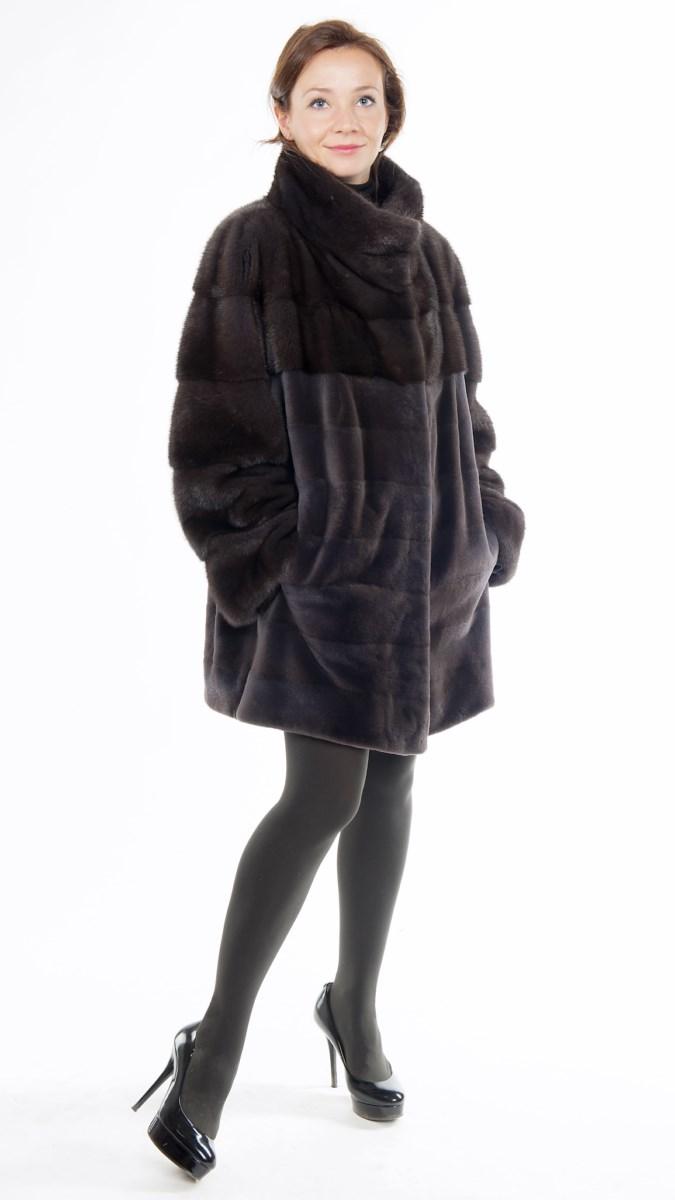 Арт.37.Полушубок из норки и полустриженной норки , цвет &laquo;аврора-графит&raquo;.Длина 80 см<s>. 134 000</s> руб./120 000 руб