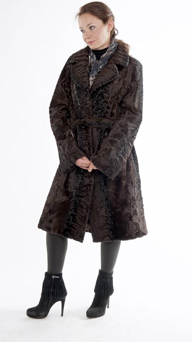 Арт. 27.  Пальто из каракульчи (свакара). Цвет коричневый.<br /> <s>172 000</s> руб./139 000 руб.
