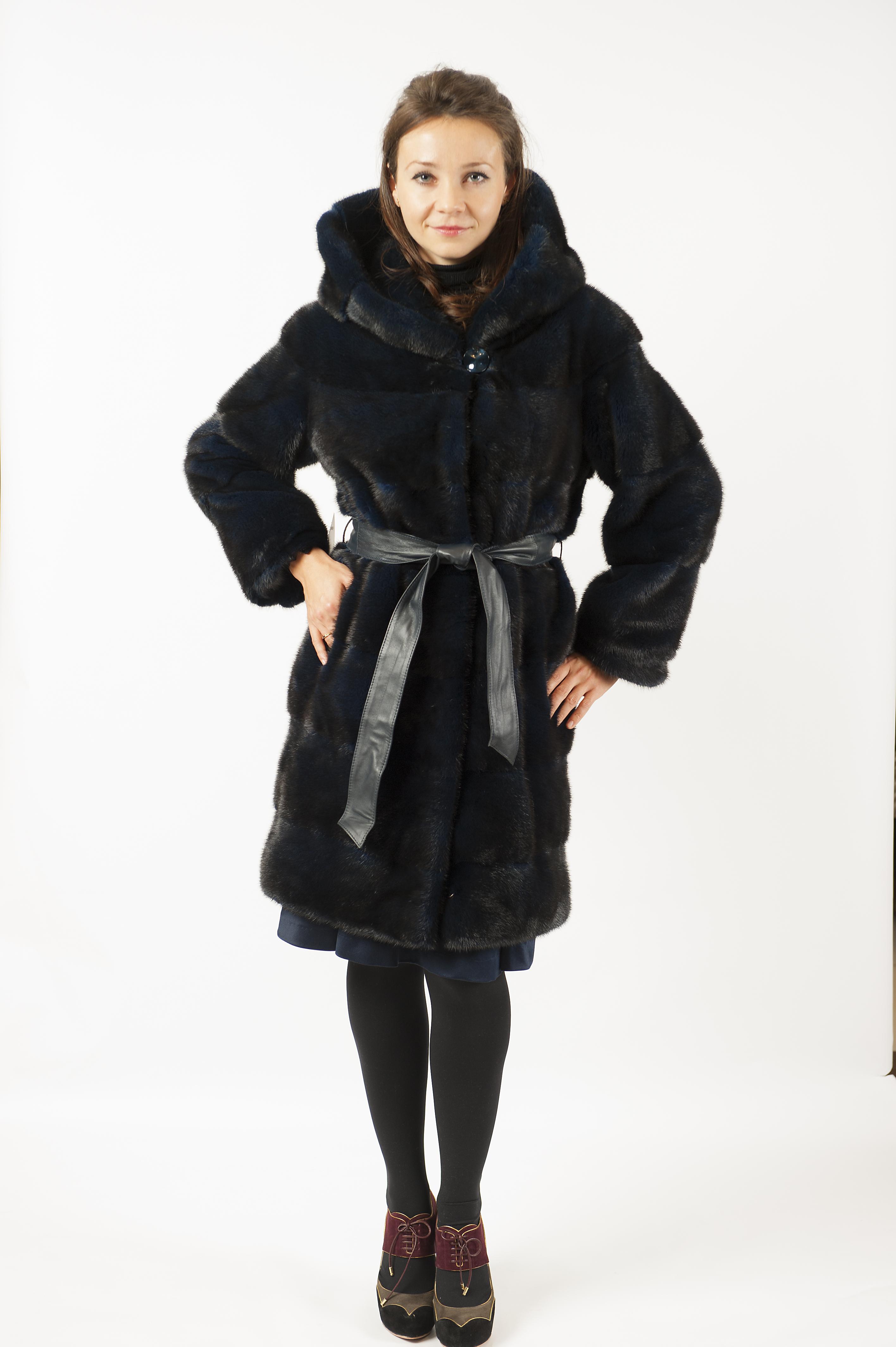 Арт.576. Пальто из норки с поясом.