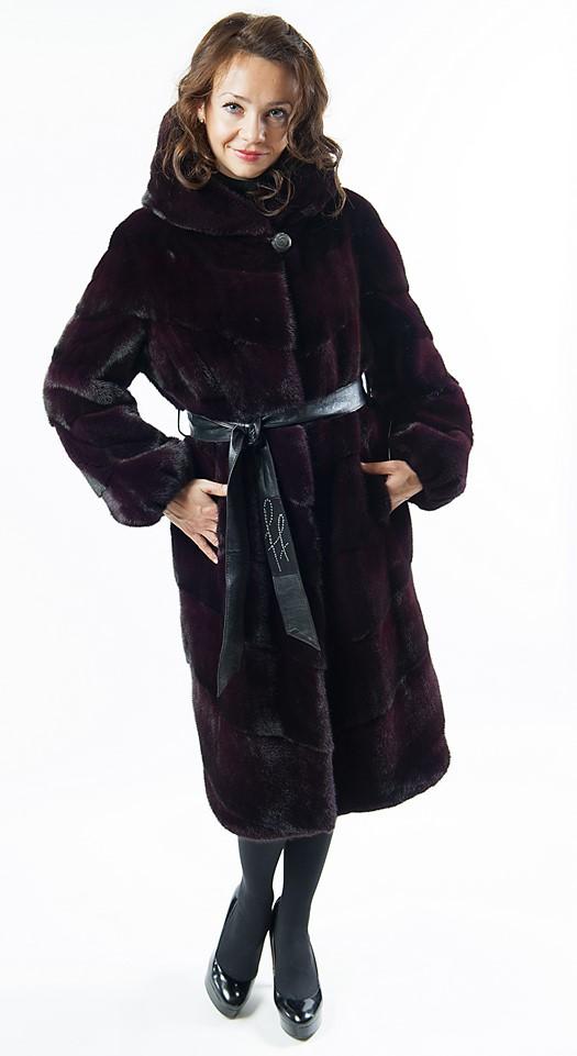 """Арт.642. Пальто с капюшоном из американской норки. Цвет """"Бордо"""". Длина 105 см. Производство Греция. 162 000 руб."""